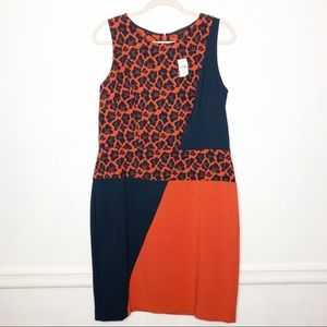 NWT Ann Taylor Leopard Red Colorblock Career Dress
